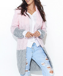 Pink & grey contrast knit cardigan