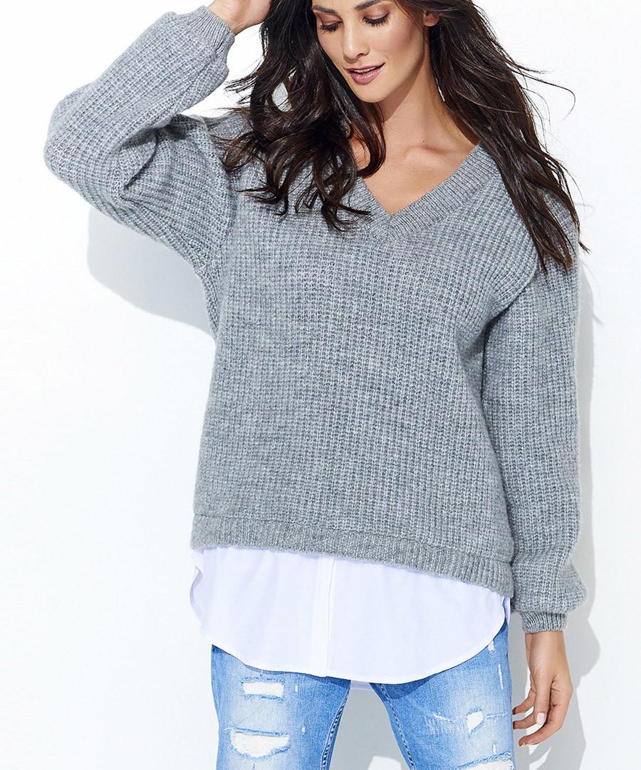 Grey mohair & wool blend V-neck jumper Sale - numinou