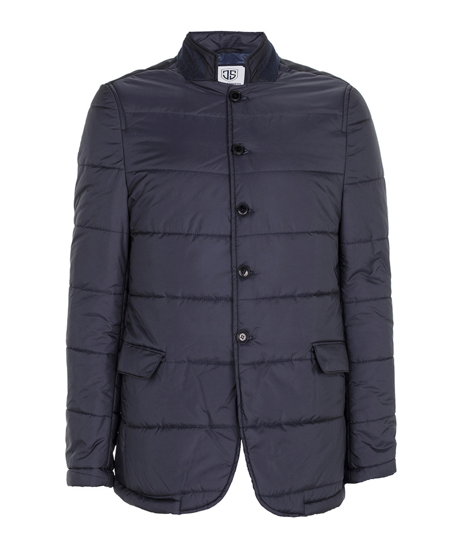 Navy quilted button-up coat Sale - Jimmy Sanders