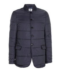 Navy quilted button-up coat