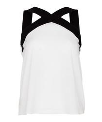 Ecru & black sleeveless blouse