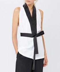 White & black sleeveless tie blouse