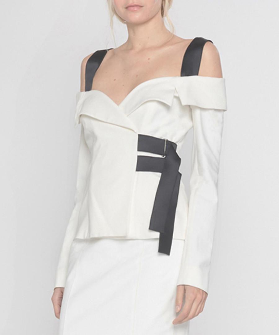 Ecru cold-shoulder blouse Sale - Amanda Wakeley