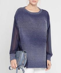Dark blue sheer sleeve knit blouse