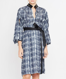 Dark blue print long sleeve dress