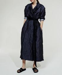 Dark blue short sleeve wrap coat