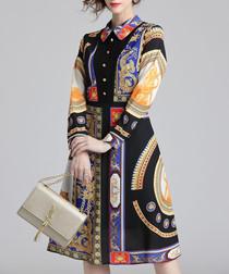 Black & multi-colour print shirt dress