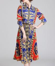 Blue & red print pleated shirt dress