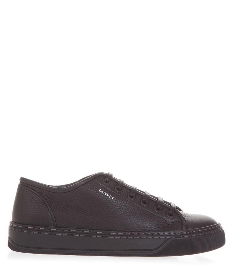 Black leather low-top sneakers Sale - lanvin