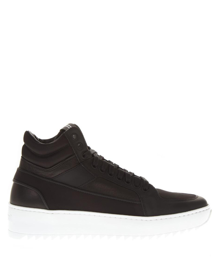 Black & white leather platform sneakers Sale - THoMS NICOLL