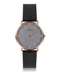 Eiger black & rose gold-tone mesh watch