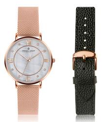 2pc Liskamm rose gold-tone watch set