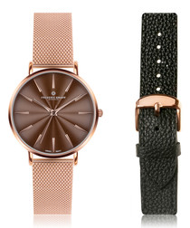 2pc Monte rose gold-tone watch set