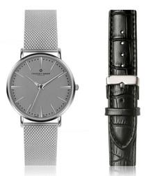 2pc Eiger silver-tone watch set