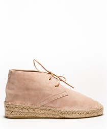Clara blush suede lace-up ankle boots