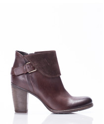 Levi brown leather heeled ankle boots