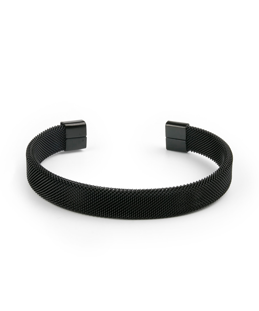 Black textured steel bracelet Sale - monomen