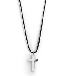 Silver-tone steel cross pendant