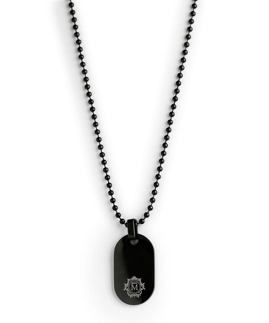 Black steel dog tag necklace Sale - monomen