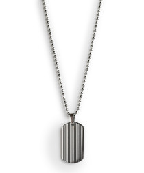 Silver-tone steel dog tag necklace