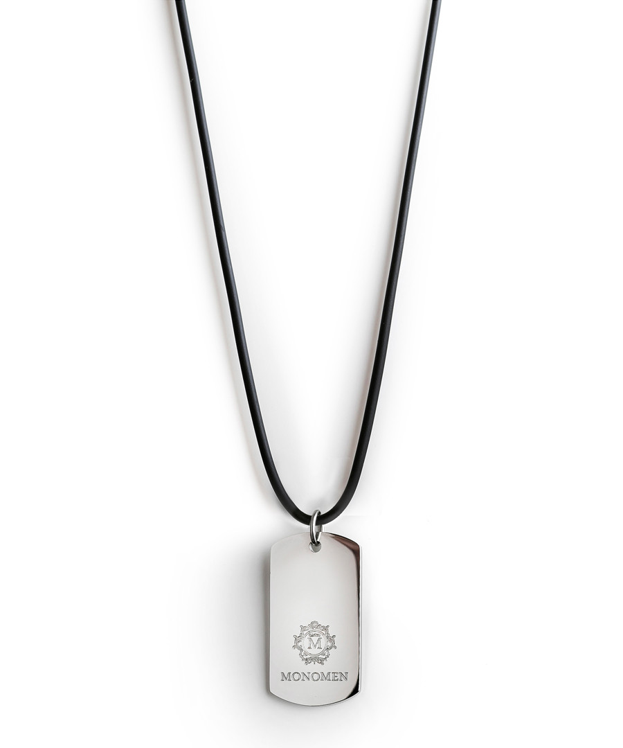 Black & silver-tone dog tag necklace Sale - monomen