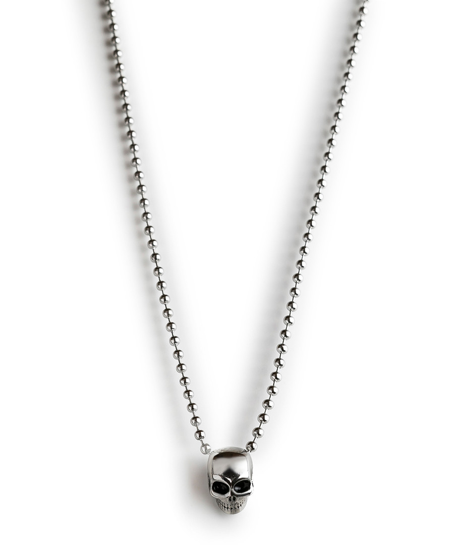 Silver-tone steel skull necklace Sale - monomen