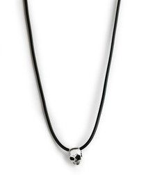 Black & silver-tone steel skull necklace
