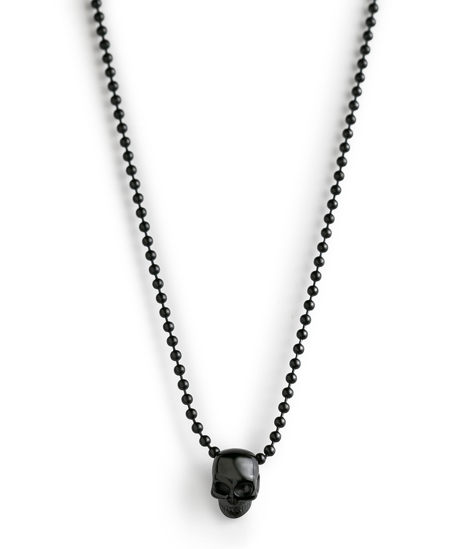 Black steel skull necklace Sale - monomen