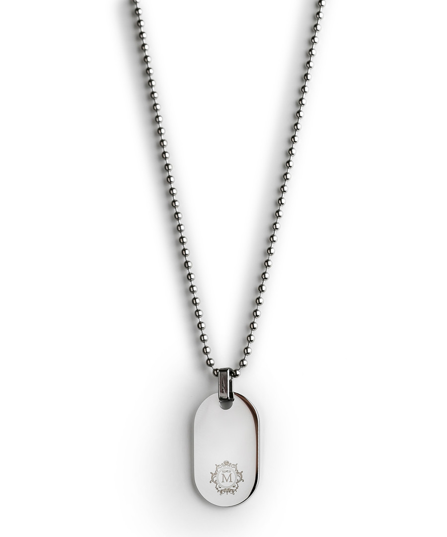 Silver-tone steel dog tag necklace Sale - monomen