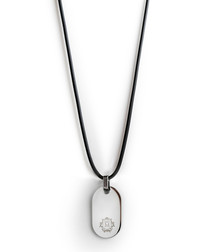 Black & silver-tone dog tag necklace