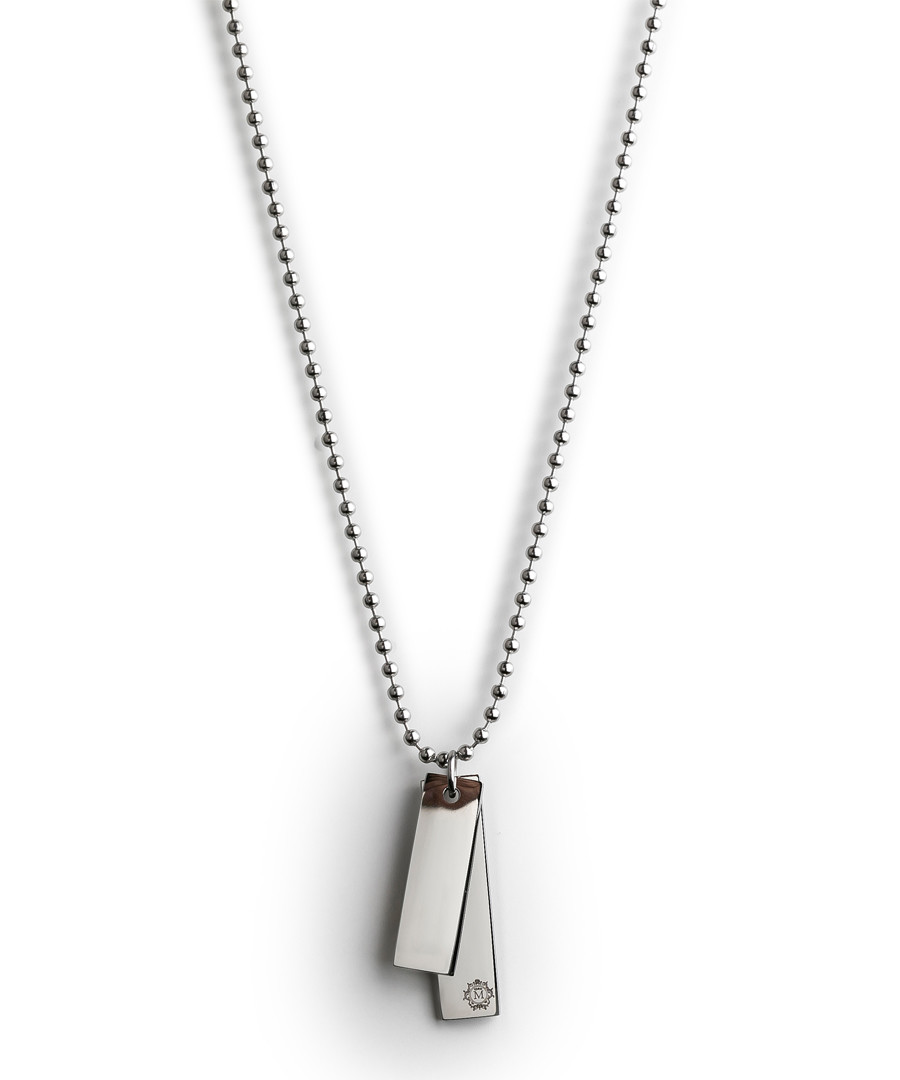 Silver-tone steel double tag necklace Sale - monomen