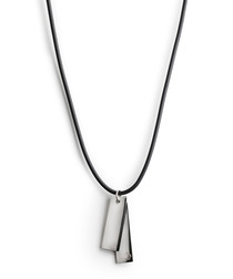 Black & silver-tone double tag necklace