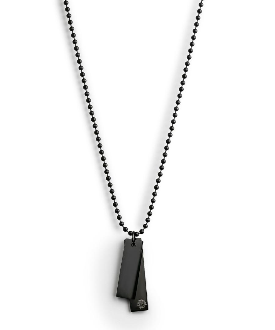 Black steel double tag necklace Sale - monomen