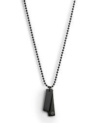 Black steel double tag necklace