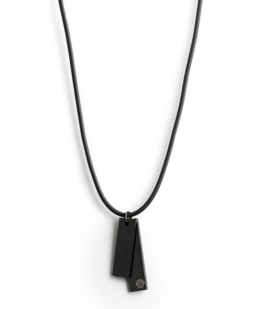 Black silicon double tag necklace Sale - monomen