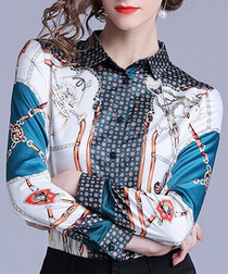 Mulit-colour print collared shirt