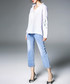 White print long sleeve shirt Sale - kaimilan Sale