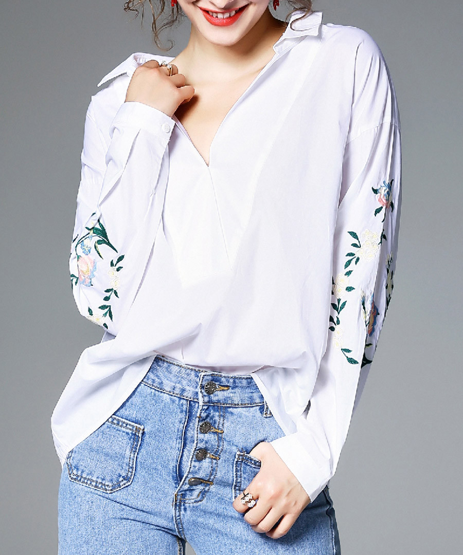 White print long sleeve shirt Sale - kaimilan