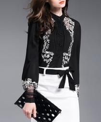 Black print button-up shirt