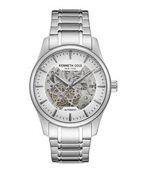 Silver-tone steel exposed watch