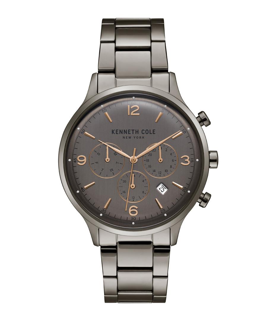Gunmetal steel link quartz watch Sale - ken cole