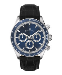 Blue & black leather moc-croc watch
