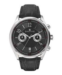Black steel & leather quartz watch