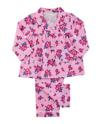 2pc pink cotton floral pyjama set