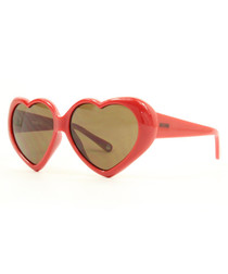 Red & brown heart-shaped sunglasses