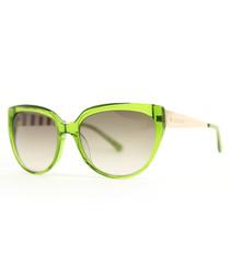 Green & beige cateye sunglasses