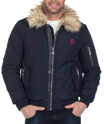 Navy textured zip-up jacket