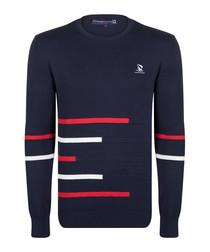 Navy pure cotton print jumper