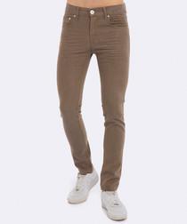 Beige cotton slim jeans