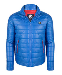 Blue quilted short coat